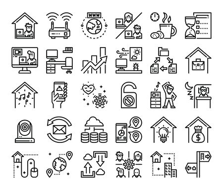 Illustration pour work from home outline vector icons work at home concept - image libre de droit