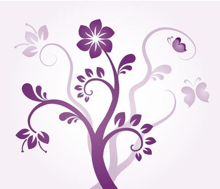 Floral ornament - violet flowers