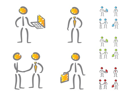 Business people icons scribble