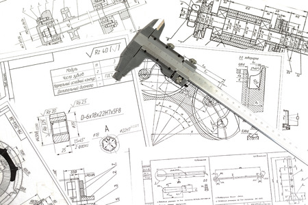 Engineering drawings, metal detail and caliper