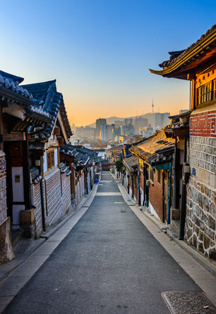 Photo for Bukchon Hanok Village,Traditional Korean style architecture in Seoul,Korea. - Royalty Free Image