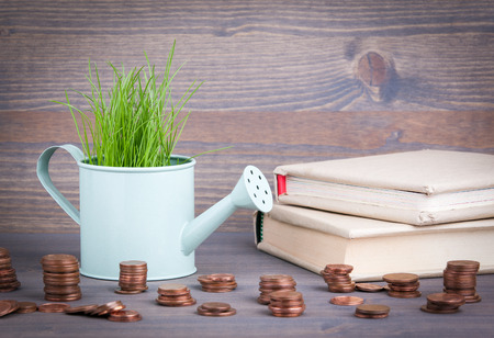 Miniature watering pot with fresh green spring grass and small change. Abstract background for business and development.