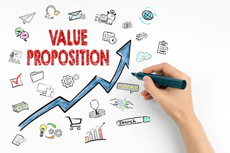 Value Proposition Concept. Hand with marker writing.