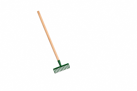 Photo pour Small gardening rake isolated on white background - image libre de droit