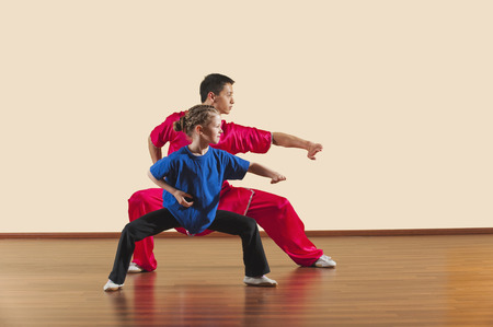 Kung Fu, Changquan, Mabu anzhang, Long Fist Style, Kung Fu instructor and girl