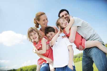 Happy family with children