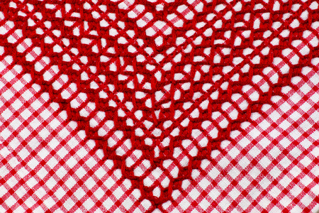 Embroidery, red white checked cloth