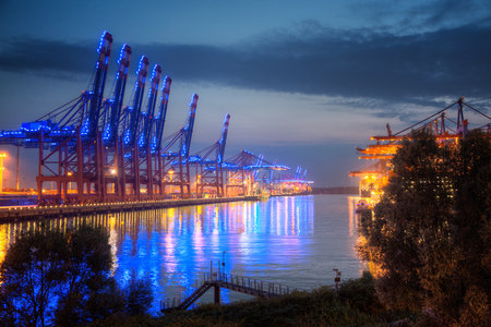 Germany, Hamburg, Container Terminal at Blue Port