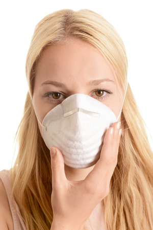 Woman with respirator