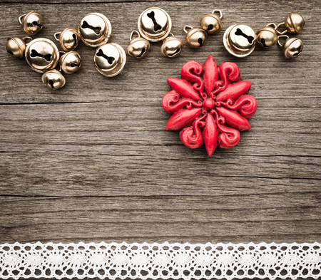 Bells, christmas decoration, star of wax, lace on wood