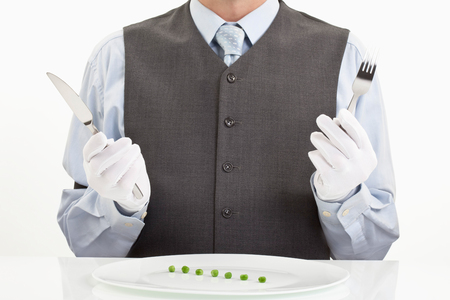 Man with diet meal in plate