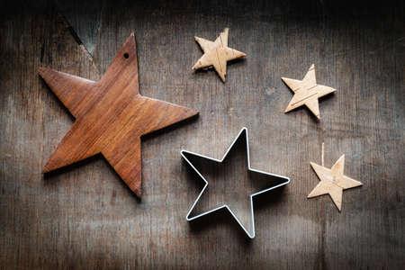Christmas still life, stars on wood