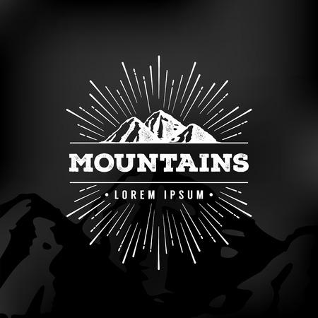 Ilustración de Vector mountains emblem. Outdoor activity symbol. - Imagen libre de derechos