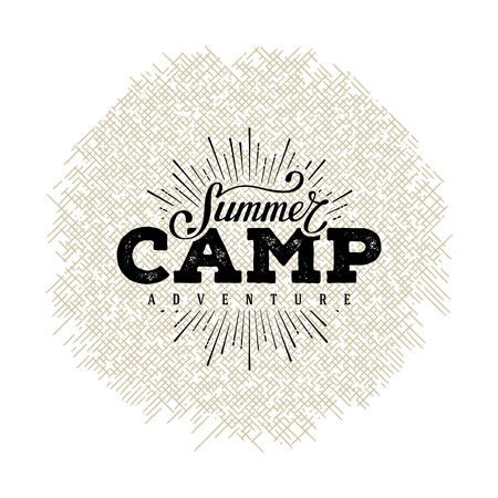 Ilustración de Summer camp label. Hand lettering typography design for sign, badge, t-shirt print,  postcard or poster. Vector illustration. - Imagen libre de derechos