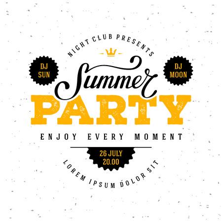 Illustration for Summer Party lettering. Flyer, Banner or Poster for Summer Party. Vector illustration. - Royalty Free Image