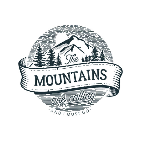 Illustration for The Mountains are calling circle Vector illustration. - Royalty Free Image