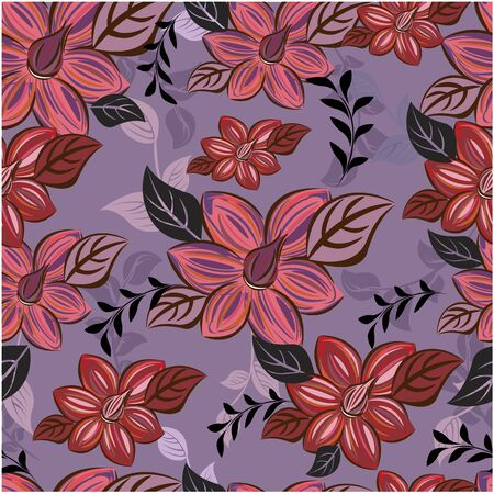 Illustration for Vector abstract background seamless flowers and floral pattern - Royalty Free Image