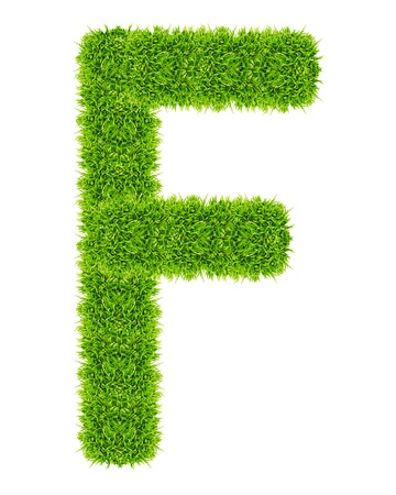 green grass letter F Isolated