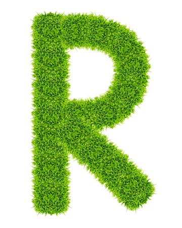 green grass letter R Isolated