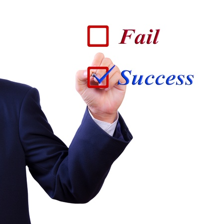 business man hand choose success word