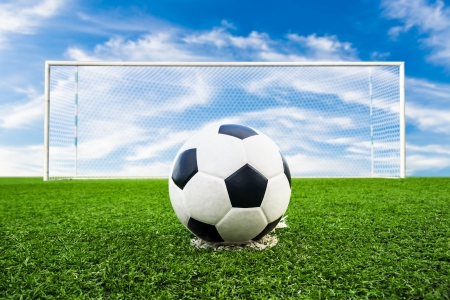 soccer ball on green grass f