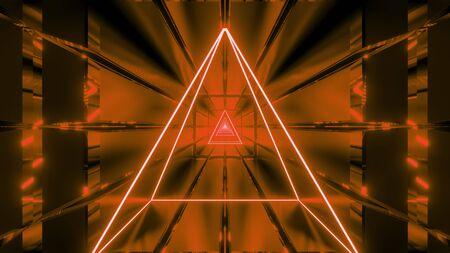 orange wireframe with tunnel background wallpaper 3d render