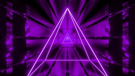 purple wireframe with tunnel background wallpaper 3d render
