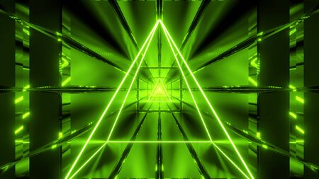 green wireframe with tunnel background wallpaper 3d render