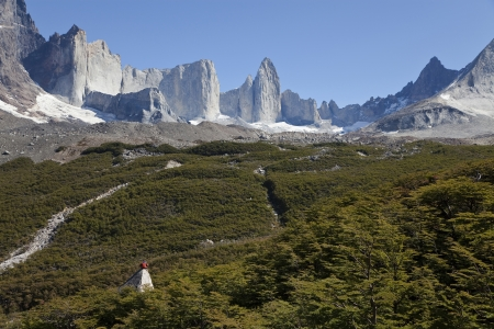 Man gazing at the amazing valle frances in torres del paine, Chile