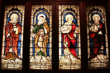 St. George's Anglican Cathedral stained glass art - four biblical prophets: Isaiah, Jeremiah, Ezekiel, Daniel. Perth, Western Australia.