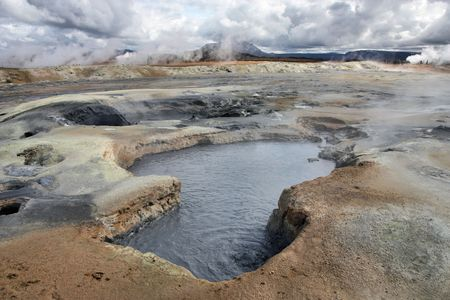 Namafjall, Hverir area in Iceland. Volcanic activity - boiling mud and sulphuric formations.