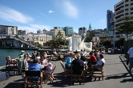 WELLINGTON - MARCH 7: Street cafe on March 7, 2009 in Wellington, New Zealand. Wellington is a major tourism destination and capital city of New Zealand.