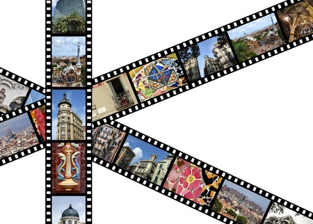 Film strips with travel photos. Barcelona, Spain. All photos taken by me.