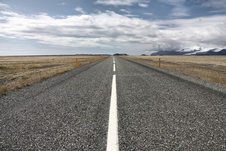 Famous ring road (Hringvegur) in Iceland. Route nr 1 in the region of Austurland.