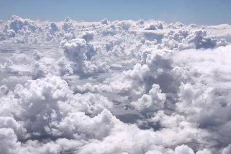 Aerial view from an aircraft - cumulus clouds
