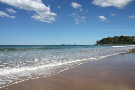 Hot Water Beach in Coromandel peninsula. New Zealand - North Island. Sandy bay.