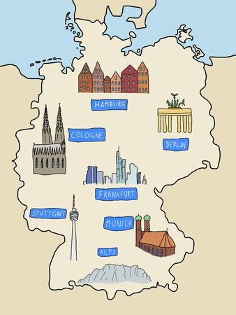 Germany - famous places: Berlin, Hamburg, Cologne, Frankfurt, Stuttgart, Munich and Alps. Color version of doodle map.