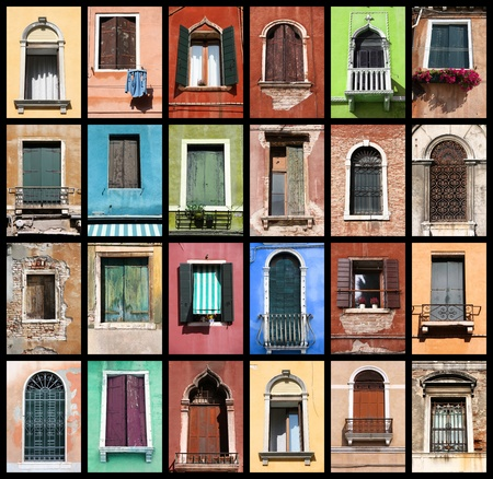 Windows of Venice, Italy. Colorful collage composition.