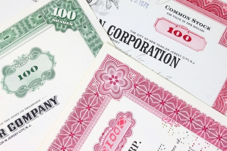 Stock exchange collectibles. Old stock share certificates from 1950s-1970s (United States). Vintage scripophily objects (obsolete).