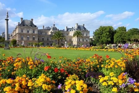 Paris, France - famous landmark, Luxembourg Palace and park.