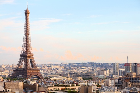Paris, France - cityscape with Eiffel Tower in the light of sunset.