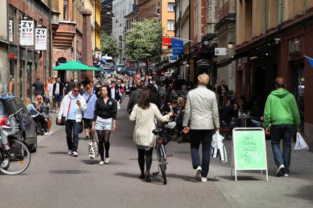 STOCKHOLM - JUNE 1: Shopping street in Norrmalm district on June 1, 2010 in Stockholm, Sweden. Stockholm is a top shopping destination in Scandinavia.
