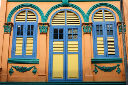 Closed colorful window shutters in Chinatown district of Singapore, Asia