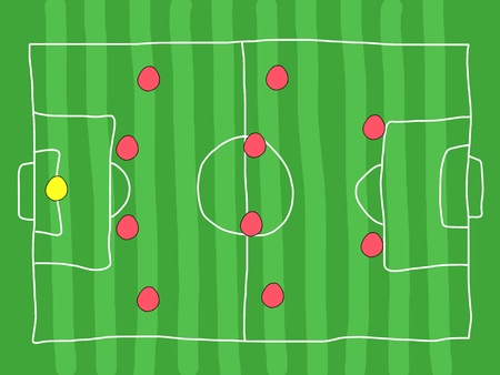 Soccer field - doodle drawing. Football tactics and strategy - popular 4-4-2 team formation.