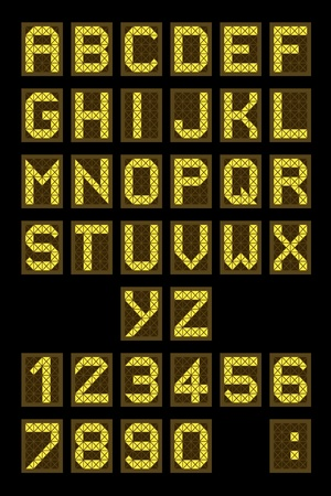 Font - letters and numbers imitating a digital display board. Usable for airport schedules, train timetables etc.