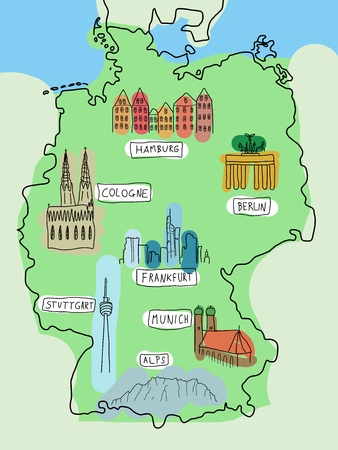 Germany - doodle map with famous places: Berlin, Hamburg ...