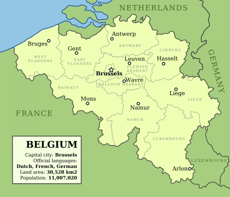 Map of Belgium with administrative division into provinces and country information data table.