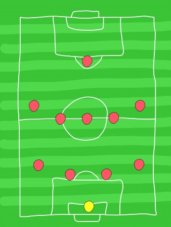 Soccer field - doodle drawing. Football tactics and strategy - popular 4-5-1 team formation.