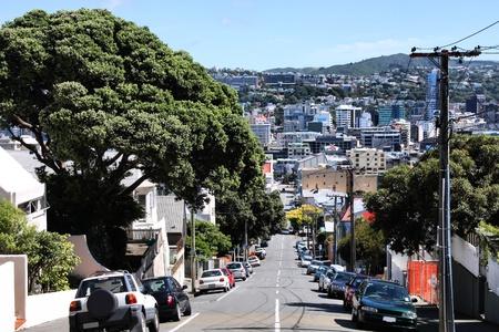 Wellington, New Zealand - street with cars parked alongside