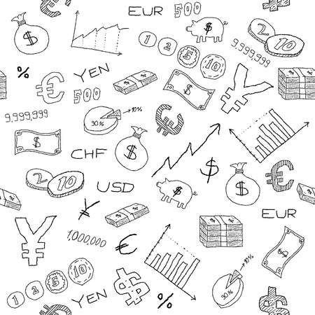 Illustration pour Seamless pattern with money, business and financial icon sand symbols. Business background doodle. - image libre de droit